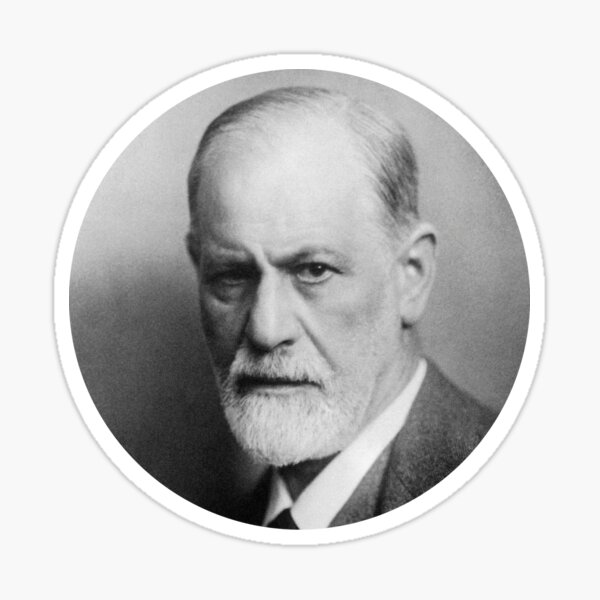 Sigmund Freud -Retouched-Best-Quality-BnW-Circle -zwei- Sticker