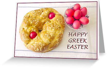 Happy greek easter with tsoureki greeting cards by daphsam redbubble happy greek easter with tsoureki by daphsam m4hsunfo