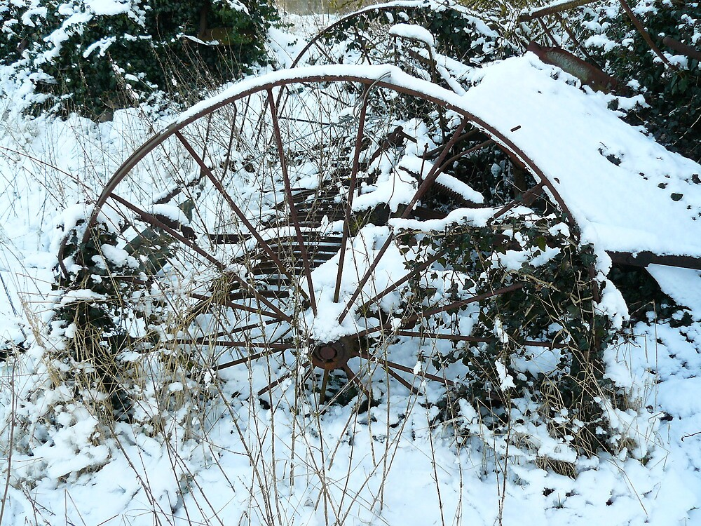 winter snow  old wheel 4 by oldfred