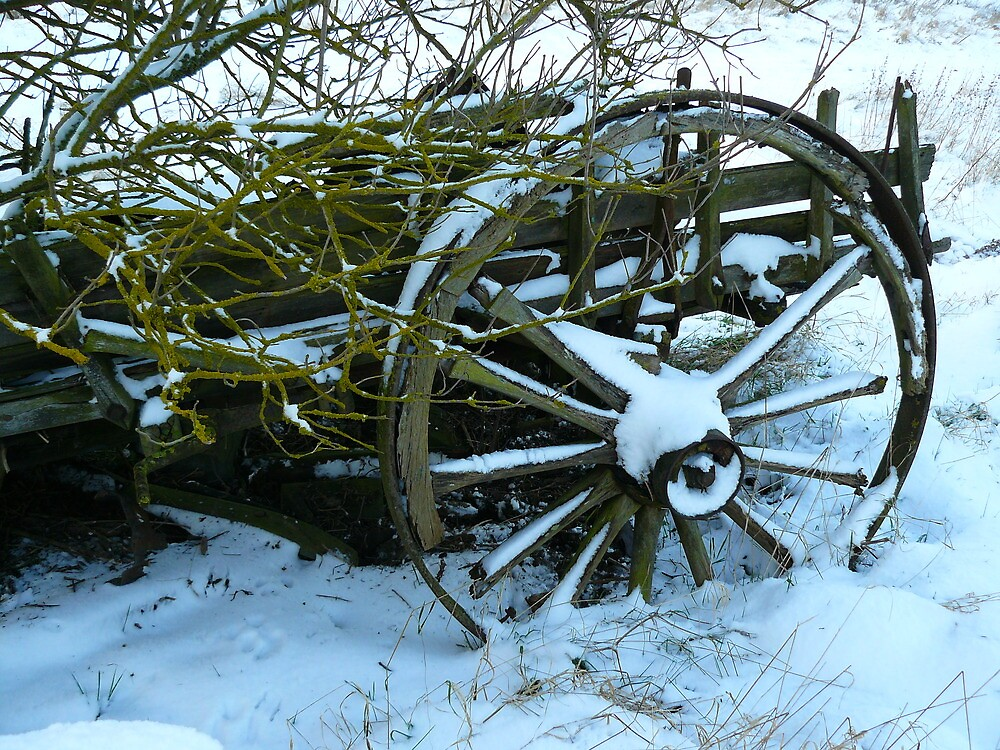 winter snow  old wheel 5 by oldfred