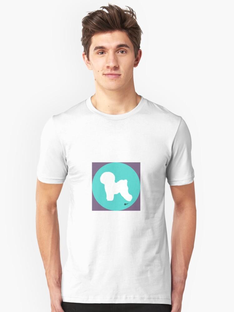 Bichon Frise Silhouette - Aqua Dot Unisex T-Shirt Front