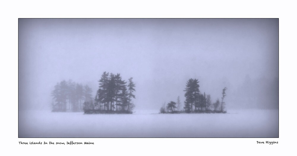 Three islands In the snow, Jefferson Maine by Dave  Higgins