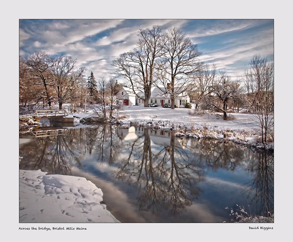 Across the bridge, Burrstone Mills Maine by Dave  Higgins