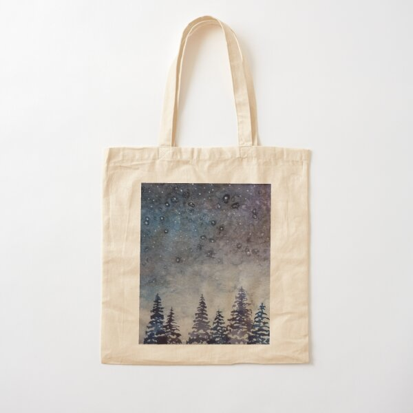 Blue and Purple Misty Forest Cotton Tote Bag