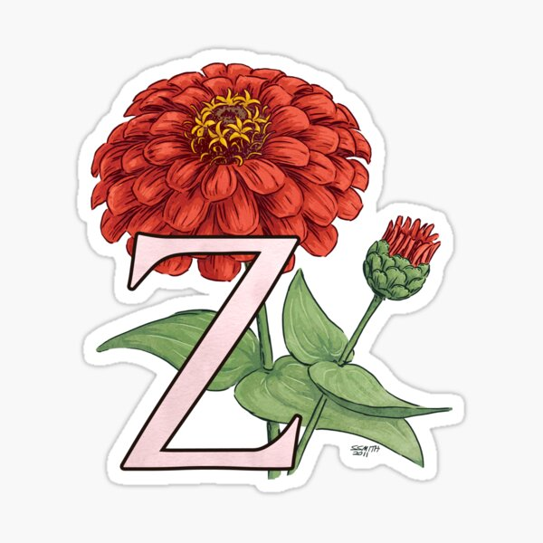 Z is for Zinnia floating Sticker
