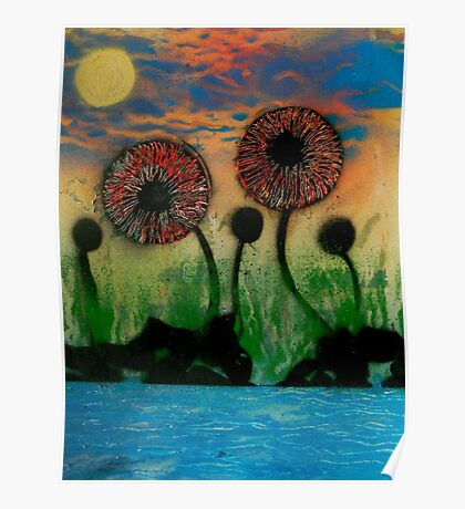 Giant Flowers by the Lake Poster
