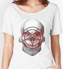 Pentagram Baphomet Skull. Women's Relaxed Fit T-Shirt