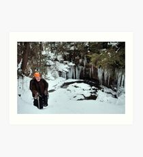 Winter Hiker At The Cliff's Edge Art Print