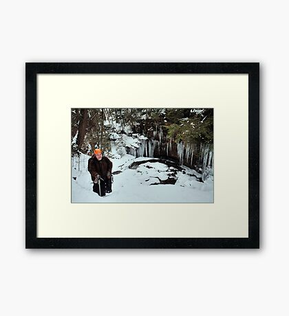 Winter Hiker At The Cliff's Edge Framed Print