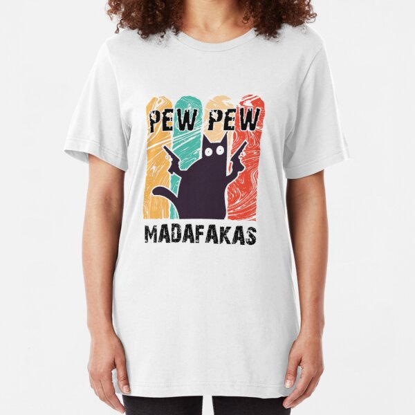 Vintage Cat Pew pew madafakas Slim Fit T-Shirt