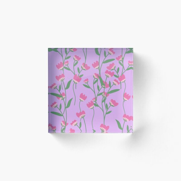 Floral print Acrylic Block
