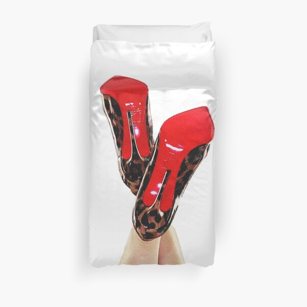 Christian Louboutin Sexy Red Bottom Leopard Print Luxury Heels Duvet Cover