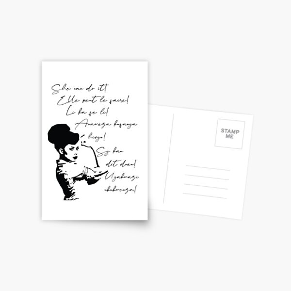 She can do It African languages | Motivational Quote Swahili, Zulu, Afrikaans, French, Haitian Creole | Woke Black Woman Postcard