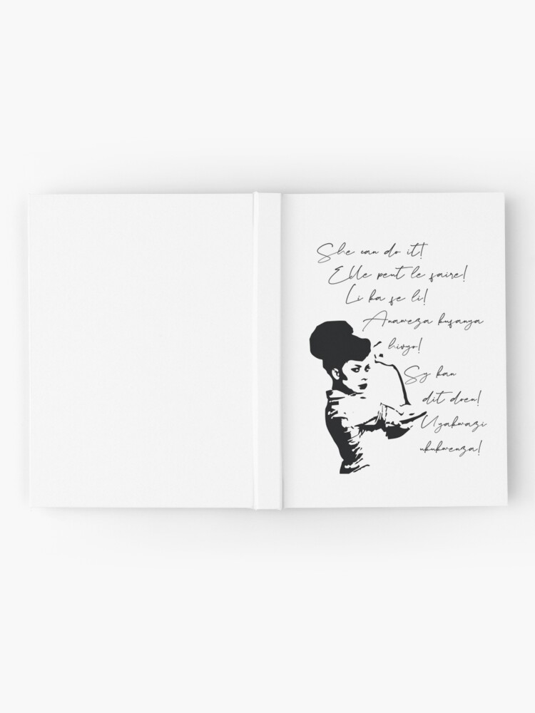 Alternate view of She can do It African languages | Motivational Quote Swahili, Zulu, Afrikaans, French, Haitian Creole | Woke Black Woman Hardcover Journal