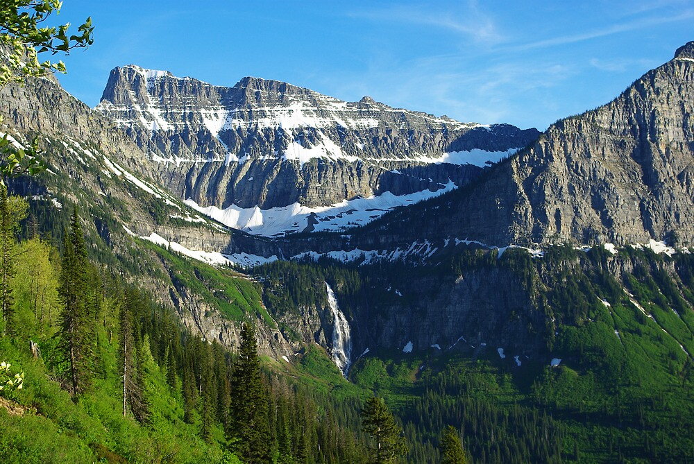 High mountains and waterfall, Montana by Claudio Del Luongo