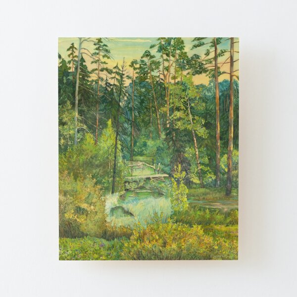 Forest paintingwatercolor Wood Mounted Print