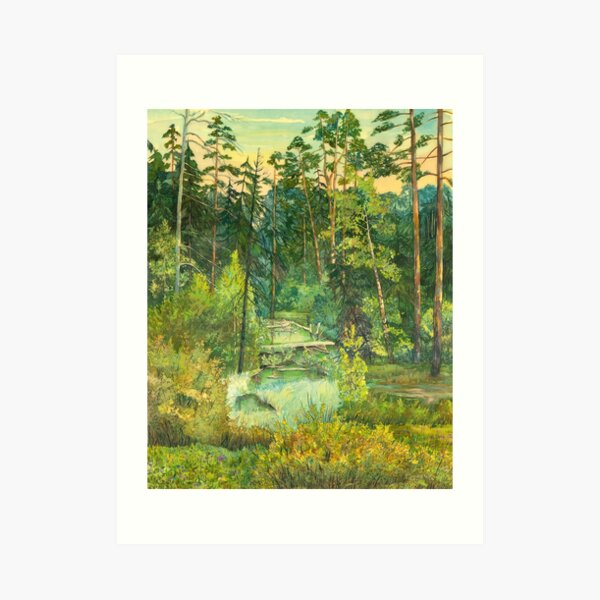 Forest  painting  watercolor  Art Print