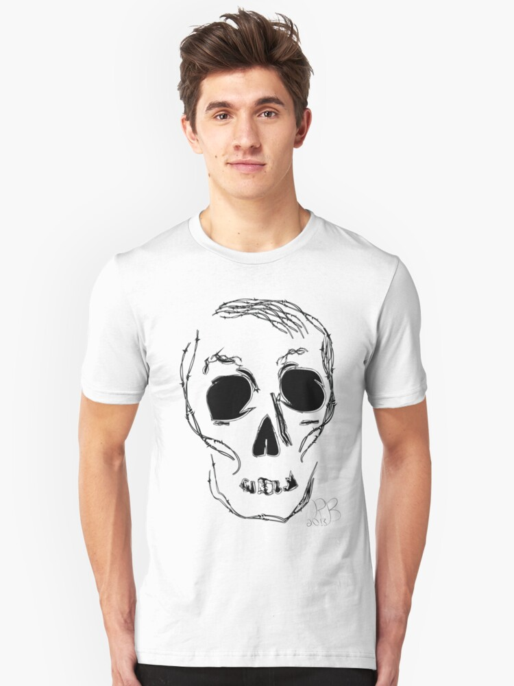 barb wire skull Unisex T-Shirt Front