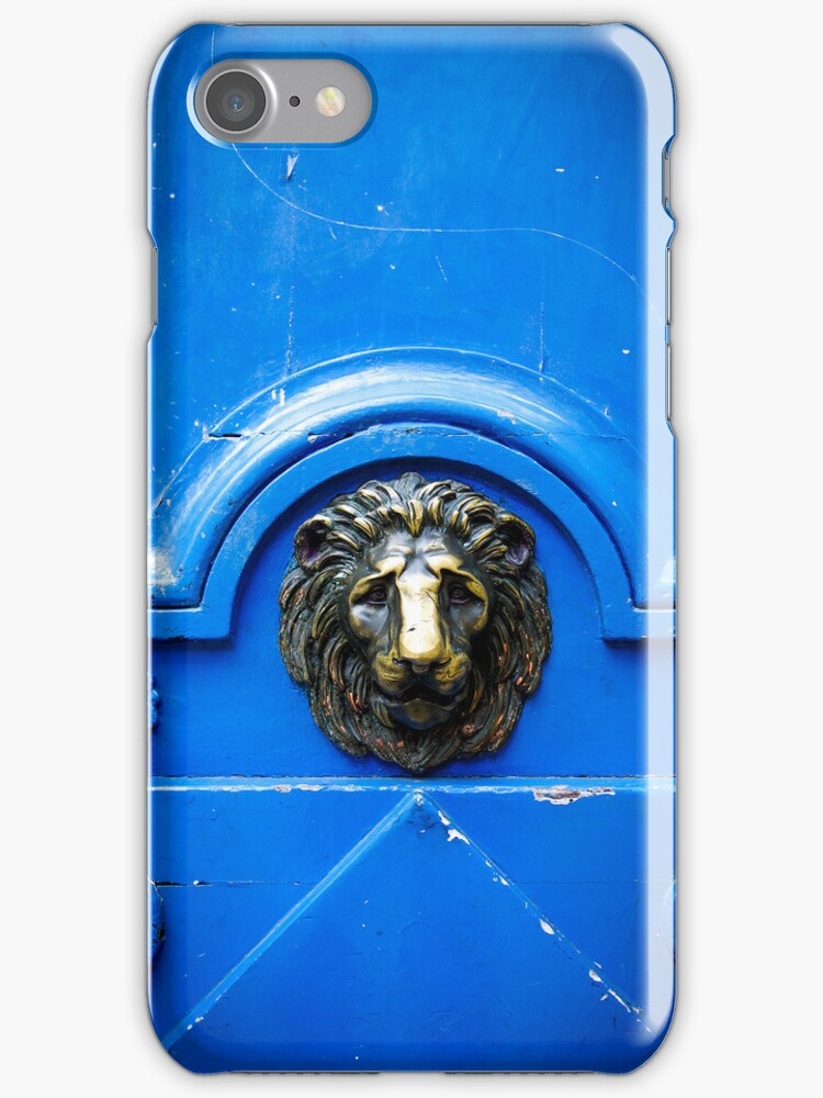 Blue old door with metal handle iPhone Cases by ilolab