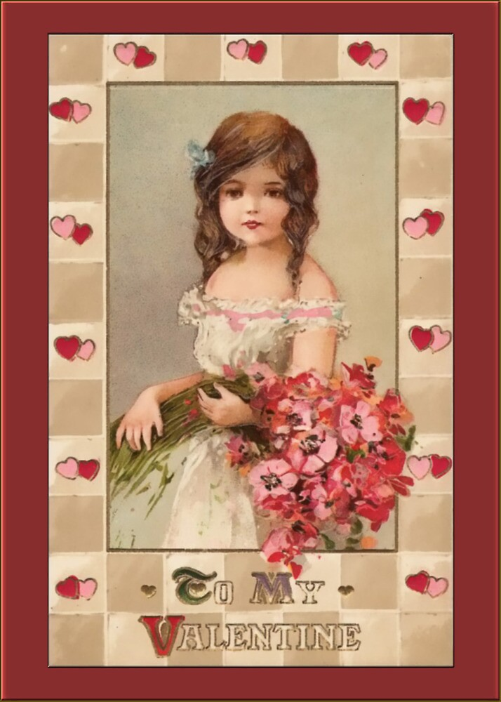 Valentine Card-Girl with Boquet by Yesteryears