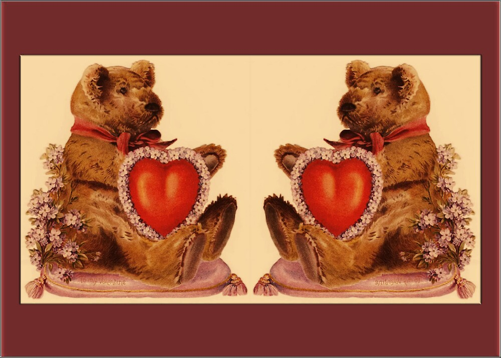 Valentine Card-Teddies with Hearts by Yesteryears