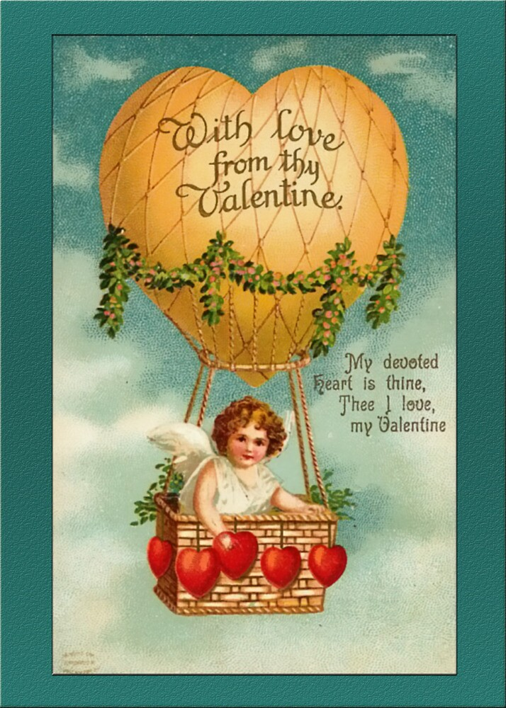 Valentine Card-Cupid in Hot Air Balloon by Yesteryears