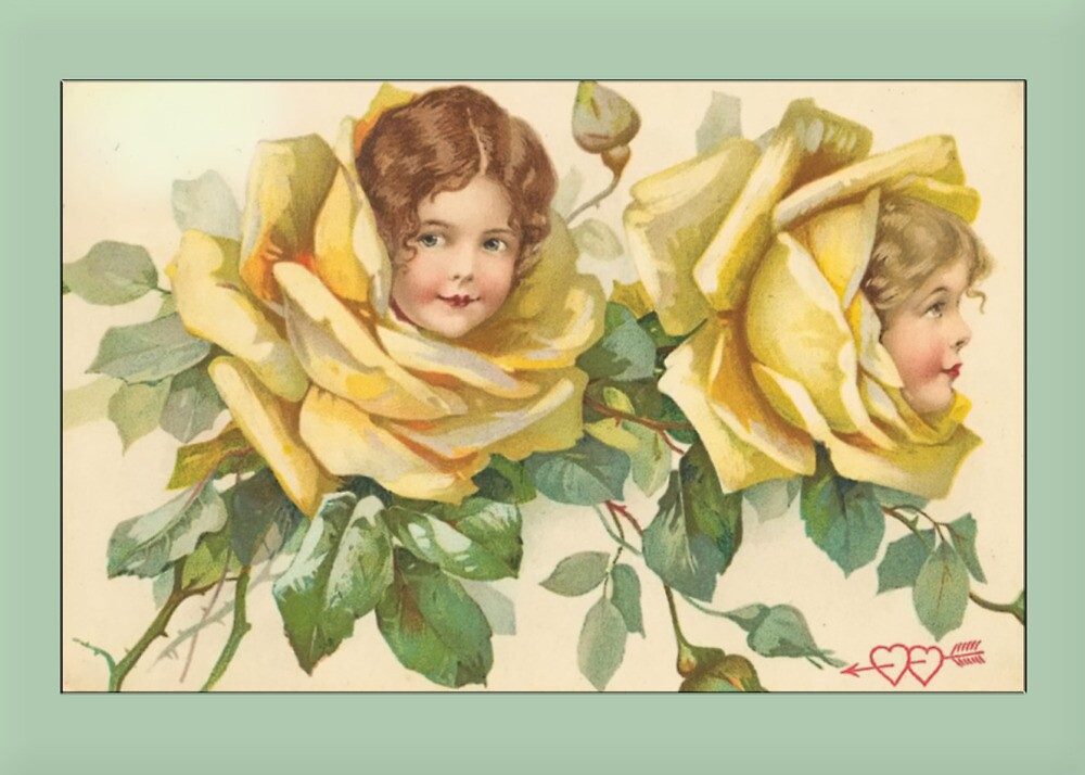 Valentine Card-Girls in Yellow Roses by Yesteryears