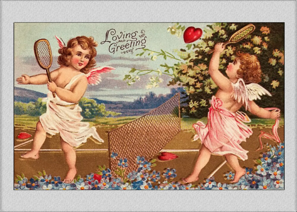 Valentine Card-Cupids Playing Tennis by Yesteryears