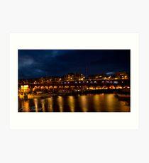 Ramsgate Harbour at night Art Print