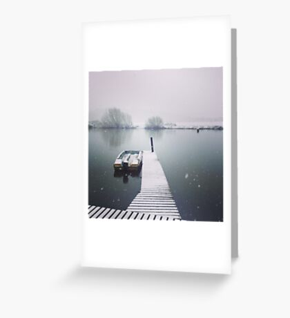 River Trent. Jetty. Snow. Greeting Card