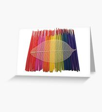 Coloured Incense and Leaf Greeting Card
