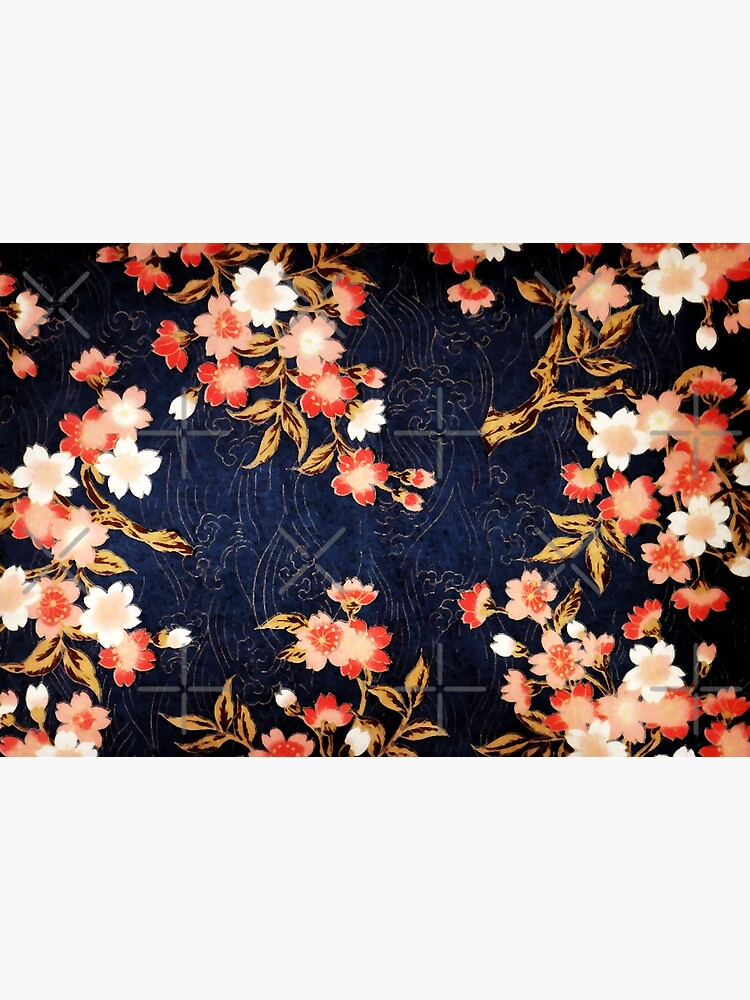 PINK RED WHITE SPRING FLOWERS IN DEEP BLUE Japanese Floral by BulganLumini