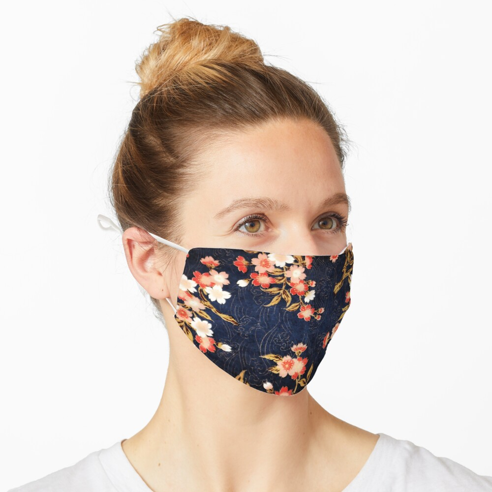 PINK RED WHITE SPRING FLOWERS IN DEEP BLUE Japanese Floral Mask