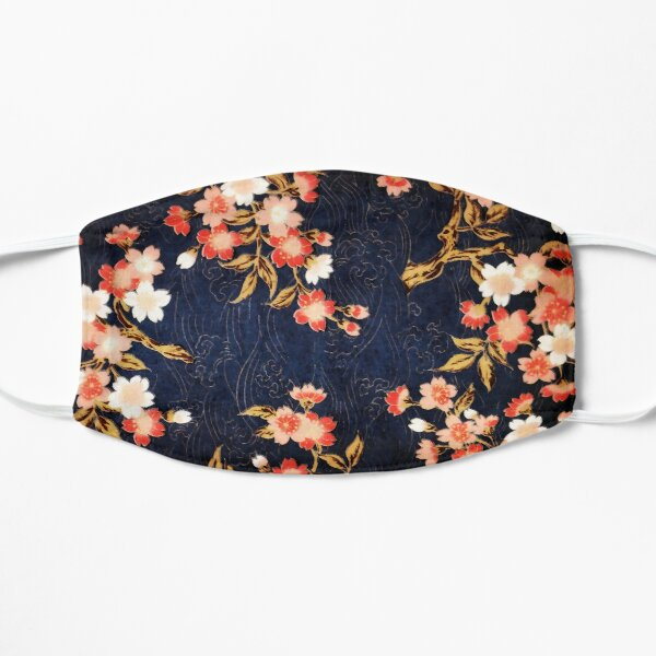 PINK RED WHITE SPRING FLOWERS IN DEEP BLUE Japanese Floral Flat Mask