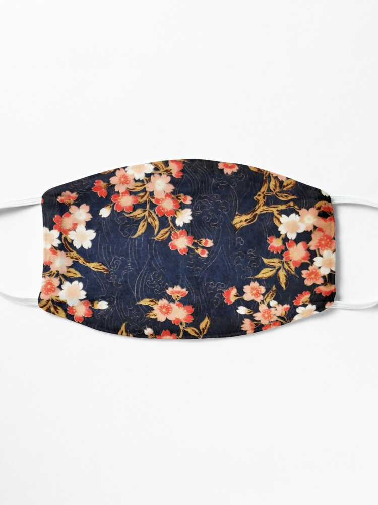 Alternate view of PINK RED WHITE SPRING FLOWERS IN DEEP BLUE Japanese Floral Mask