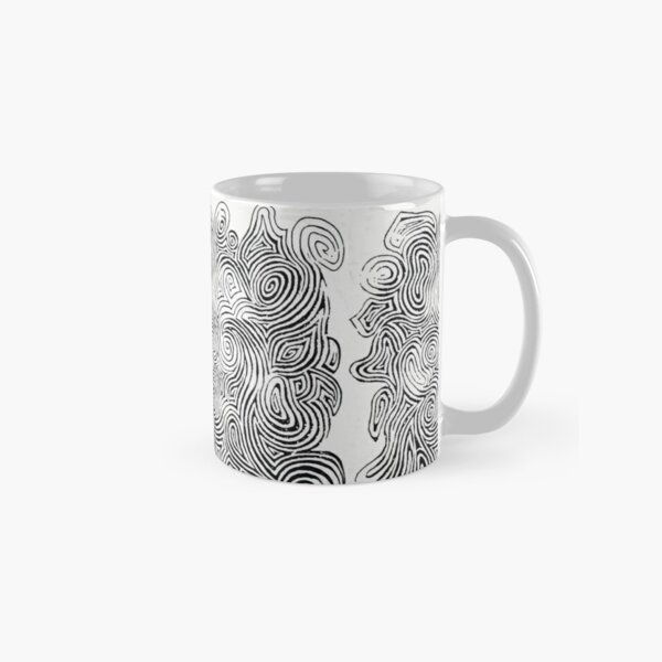Psychedelic Optical Illusion Patterns - Jerry Garcia Face Zebra Stripes / Swirls Classic Mug
