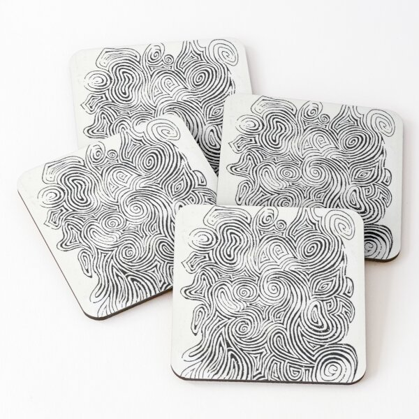 Psychedelic Optical Illusion Patterns - Jerry Garcia Face Zebra Stripes / Swirls Coasters (Set of 4)