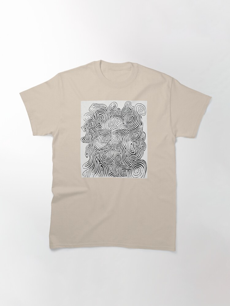 Alternate view of Psychedelic Optical Illusion Patterns - Jerry Garcia Face Zebra Stripes / Swirls Classic T-Shirt
