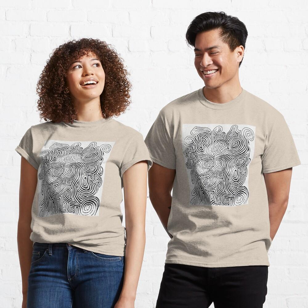 Psychedelic Optical Illusion Patterns - Jerry Garcia Face Zebra Stripes / Swirls Classic T-Shirt