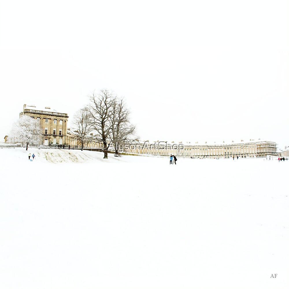 The Royal Crescent in the Snow. by AlysonArtShop