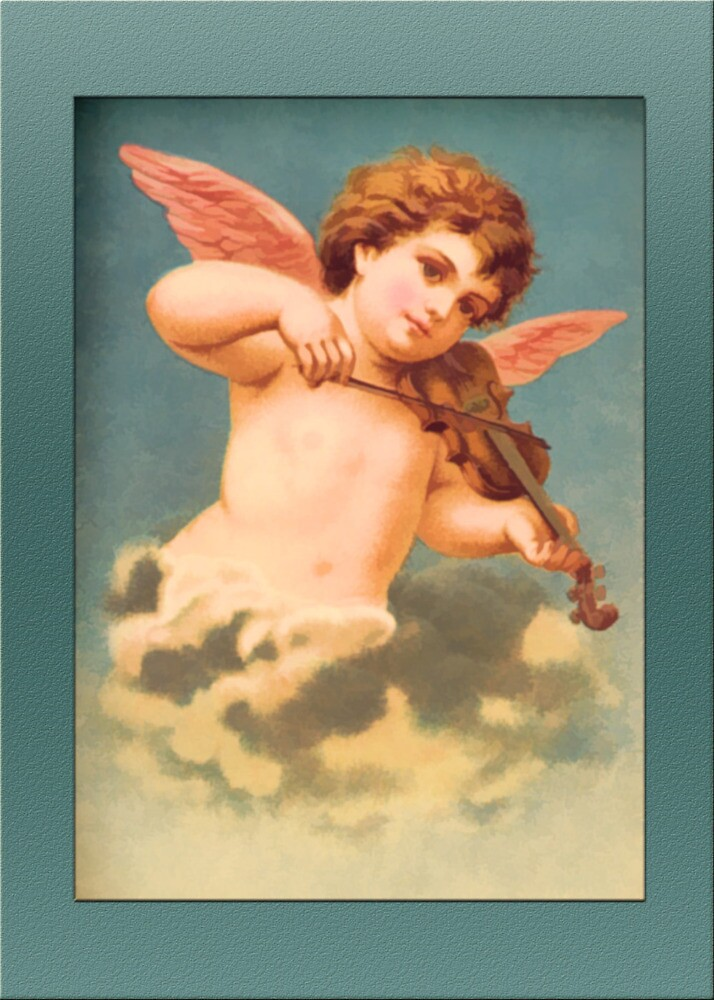 Vintage Angel Card-Angel with Violin by Yesteryears