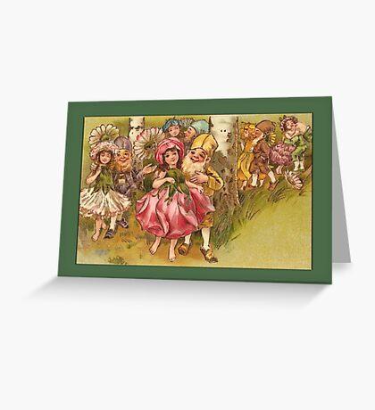 Vintage Elf Card-Elves with Flower Girls Greeting Card