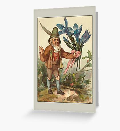 Vintage Elf Card-Elf with Flowers Greeting Card