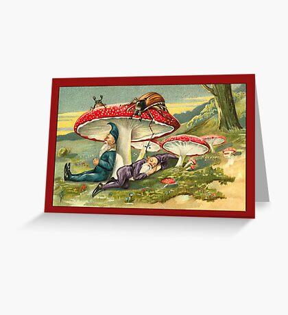 Vintage Elf Card-Elves asleep under Mushrooms Greeting Card