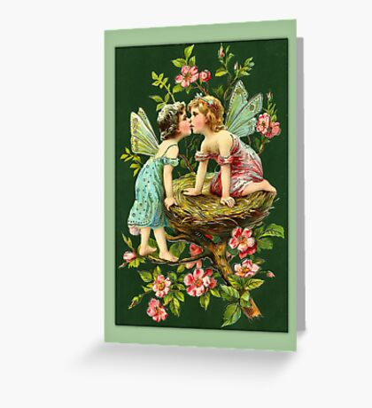 Vintage Fairies-Fairies on Bird Nest Greeting Card