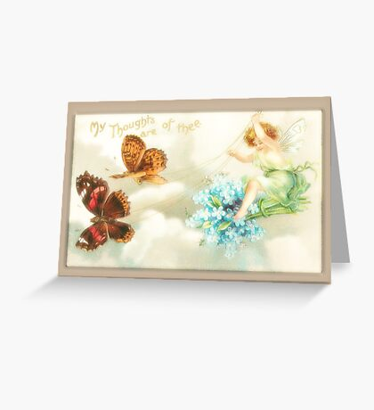 Vintage Fairy Card-Fairy with Butterflies Greeting Card