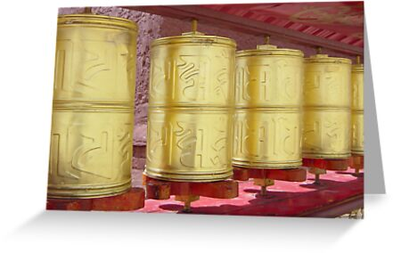 Prayer Wheels, Tibet by Janice Vinclair