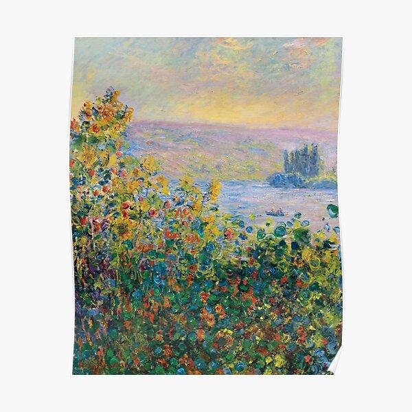 Claude Monet - Macizos de flores en Vétheuil Póster