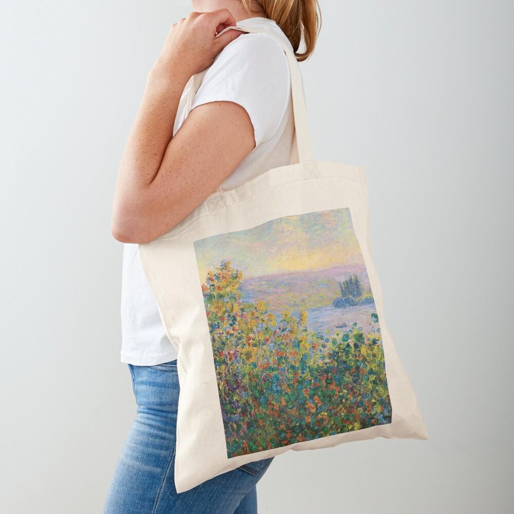 Claude Monet - Flower Beds at Vétheuil Tote Bag
