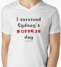 I survived Sydney's hottest day (Tee) black text Men's V-Neck T-Shirt